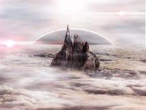 En scienceplats över molnen stock illustrationer