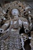 En sclupture på den Halebidu templet arkivfoton