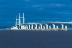 En second lieu Severn Crossing, pont au-dessus de Bristol Channel entre l'Angleterre Images libres de droits