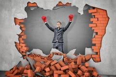 En segerrik affärsman i boxninghandskar står nära ett hål i en tegelstenvägg med spillror som omkring ligger royaltyfria foton
