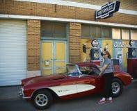 En sen 50-tal Chevrolet Corvette, Lowell, Arizona Fotografering för Bildbyråer