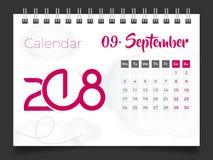 En septiembre de 2018 Calendario de escritorio 2018 Foto de archivo libre de regalías