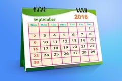 En septiembre de 2018 calendario de escritorio aislado en fondo colorido ilustración 3D ilustración del vector
