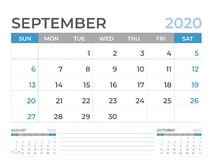 En septiembre de 2020 plantilla del calendario, talla 8 x de la disposición de calendario de escritorio 6 pulgadas, diseño del pl stock de ilustración
