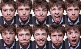 En serie av emotionella stående av den lurviga unga mannen Arkivfoto