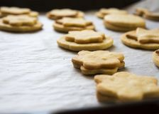 En serie av julkakor och kex som bakas på bakning, skyler över brister royaltyfria bilder