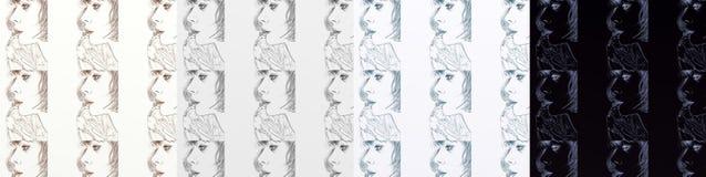 En serie av kort som är konstnärlig med kvinnor, tappning, med upprepade olika skuggor för motiv Royaltyfri Bild