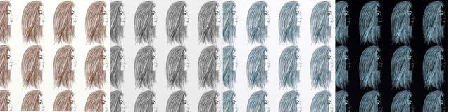 En serie av kort som är konstnärlig med kvinnor, tappning, med upprepade olika skuggor för motiv Royaltyfria Bilder