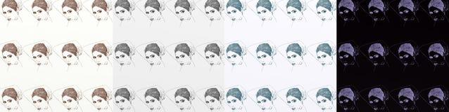 En serie av kort som är konstnärlig med kvinnor, tappning, med upprepade olika skuggor för motiv Royaltyfri Fotografi