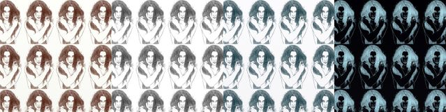 En serie av kort som är konstnärlig med kvinnor, tappning, med upprepade olika skuggor för motiv Fotografering för Bildbyråer