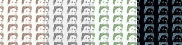 En serie av kort som är konstnärlig med kvinnor, tappning, med upprepade olika skuggor för motiv Royaltyfria Foton
