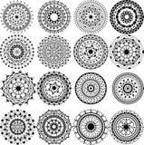 En set av härliga mandalas och snör åt cirklar Royaltyfri Foto