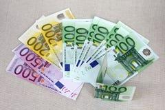 En set av sedlar 500, 200, 100 Arkivfoton
