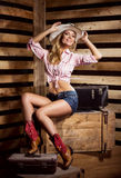 En sexig cowgirl som poserar i en hatt Royaltyfri Foto