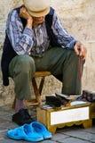 En shoeshine - istanbul Arkivbild