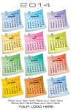 2014 en sida 12 månad kalender Arkivfoto