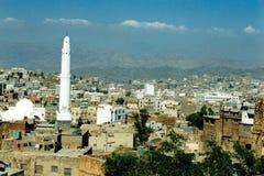 En sikt över den Taiz staden Arkivfoto