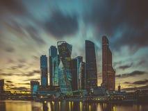 En sikt av affärsfjärdedelen i staden av Moskva Royaltyfria Bilder