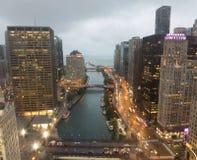 En sikt av Chicagoet River arkivfoton