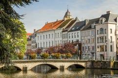 En sikt av den belgiska staden, Lier Arkivbild