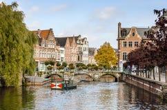 En sikt av den belgiska staden, Lier Arkivfoto