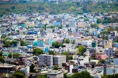 En sikt av den Hyderabad staden från det Golconda fortet arkivfoton