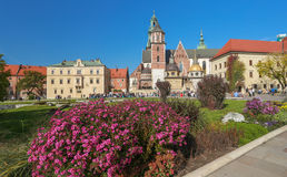 En sikt av den Krakow slotten i Polen arkivbilder