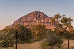 En sikt av den manliga kullen på Tsodilo kullar som glöder rosa under su arkivbilder