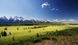 En sikt av den storslagna tetonnationalparken Arkivbilder
