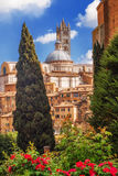 En sikt av den traditionella arkitekturen i staden av Siena, Tuscany Arkivfoto