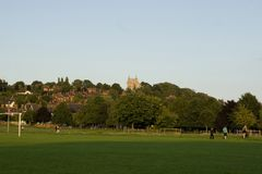 En sikt av den västra allmänningen, Lincoln, Lincolnshire, Förenade kungariket Royaltyfri Bild