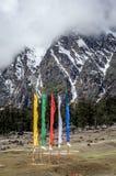 En sikt av den Yumthang dalen på det Himalayan området med klosterbroder sjunker att flyga högt, Indien Royaltyfri Foto