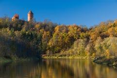 En sikt av det krimuldaslotten och tornet reflekterade i gaujafloden Fotografering för Bildbyråer