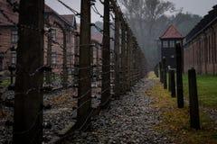 En sikt av ett område som används för utförande av Conc fångar av Auschwitz arkivfoto