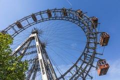 En sikt av frankfurterkorven Riesenrad i Prater Royaltyfri Fotografi