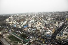En sikt av gamla Delhi från ett fågelöga royaltyfri bild