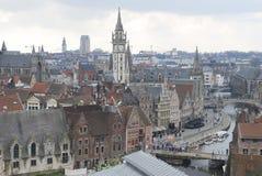 En sikt av Ghent tak och torn, Ghent, Belgien Arkivfoto