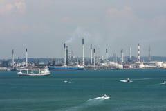 En sikt av havsporten, Singapore Arkivbild