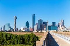 En sikt av horisonten av Dallas, Texas Arkivbilder