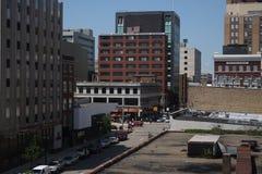 En sikt av i stadens centrum Lansing Arkivbild