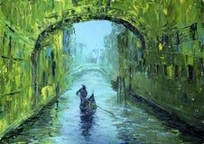 En sikt av kanalen med fartyget och bron i Venedig Arkivbild