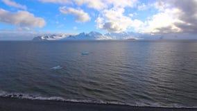 En sikt av kusten med stora glaciärer Andreev arkivfilmer
