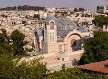 En sikt av kyrkan av St Peter i Gallicantu på Jerusalem gammal cit Fotografering för Bildbyråer