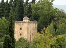 En sikt av La Alhambra i Granada fotografering för bildbyråer