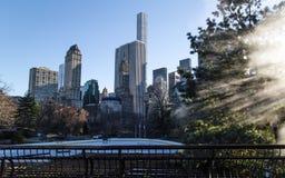 En sikt av Manhattan över iscirkeln i södra Central Park i Manhattan Fotografering för Bildbyråer