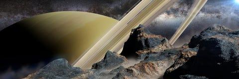 En sikt av planeten Saturn och cirklarna, som sett från en av dess illustrationbaner för månar 3d stock illustrationer