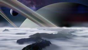 En sikt av planeten Saturn som sett från en av dess månar vektor illustrationer
