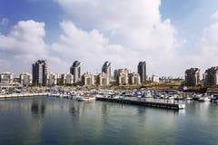 En sikt av staden av Ashdod från medelhavet Royaltyfria Bilder