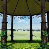 En sikt av tältet från insidan Royaltyfri Fotografi