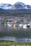 En sikt av Ushuaia, Tierra del Fuego Arkivfoto